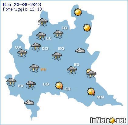 Lombardia, previsioni grafiche domani pomeriggio (20 Giugno)