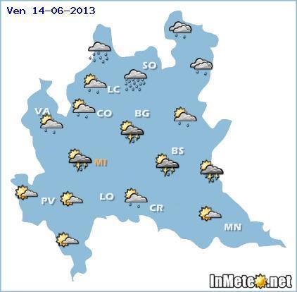 Lombardia: rovesci e temporali fra pomeriggio-sera - 14 Giugno 2013