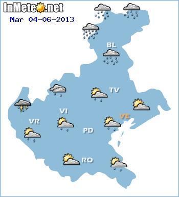 Veneto, previsioni grafiche domani 4 Giugno 2013