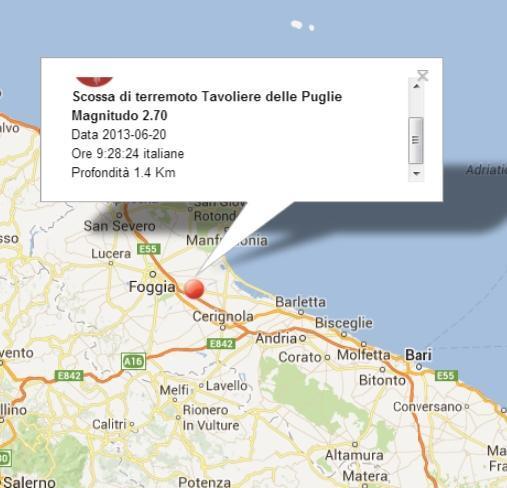 PUGLIA, scossa di terremoto oggi fra Foggia e Cerignola
