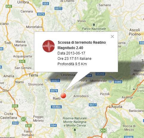 TERREMOTO OGGI Rieti, Lazio - 17 Giugno 2013
