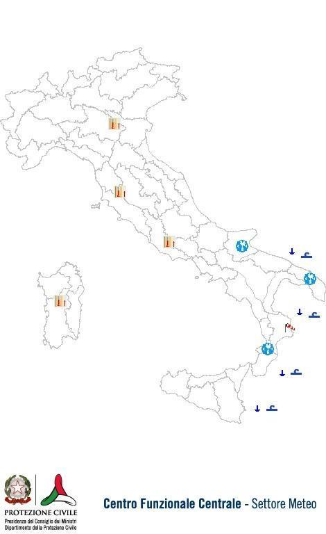 Previsioni meteo 1 Agosto 2013 Italia: Bollettino della Protezione Civile. Fonte: www.protezionecivile.gov.it