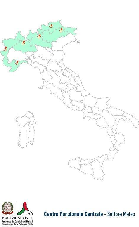 Previsioni meteo 2 Luglio 2013 Italia: Bollettino della Protezione Civile. Fonte: www.protezionecivile.gov.it