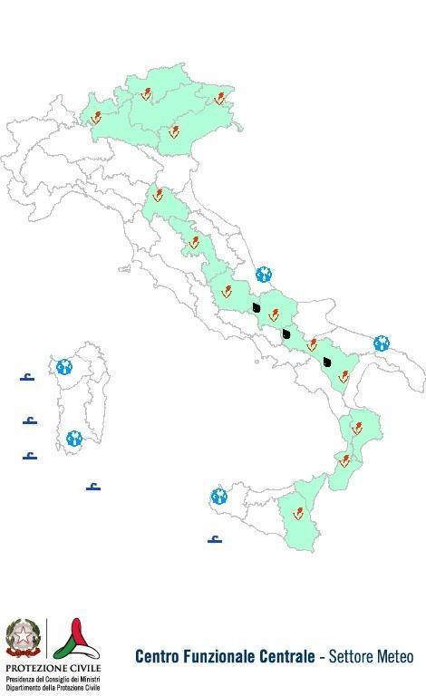 Previsioni meteo 4 Luglio 2013 Italia: Bollettino della Protezione Civile. Fonte: www.protezionecivile.gov.it