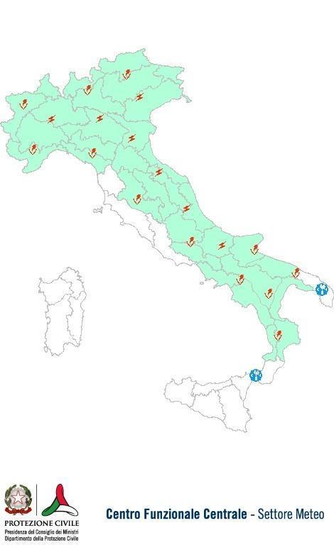 Previsioni meteo 13 Luglio 2013 Italia: Bollettino della Protezione Civile. Fonte: www.protezionecivile.gov.it