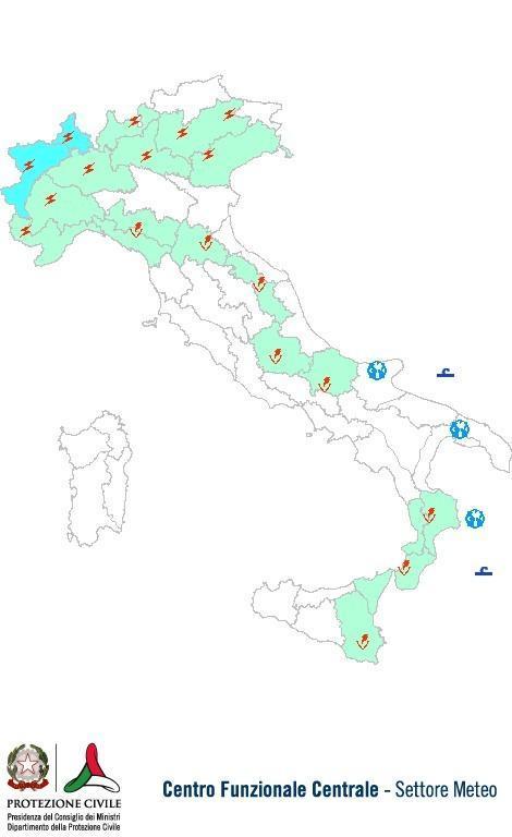 Previsioni meteo 16 Luglio 2013 Italia: Bollettino della Protezione Civile. Fonte: www.protezionecivile.gov.it