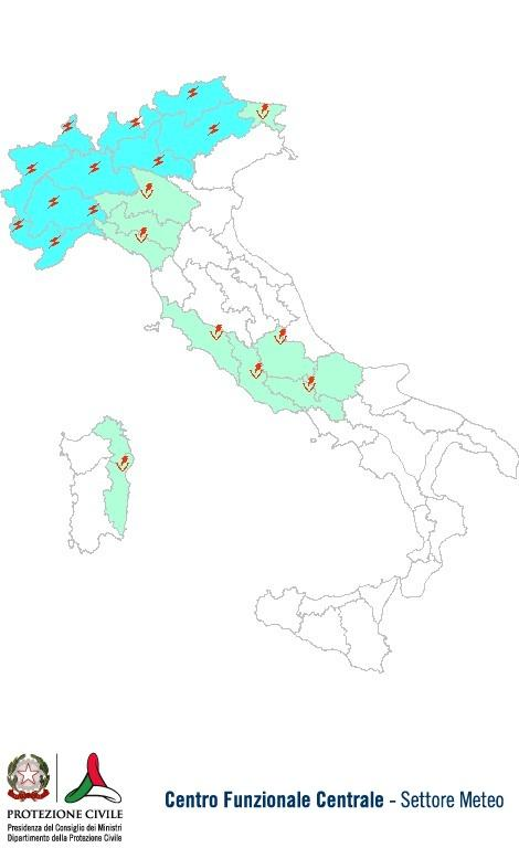 Previsioni meteo 18 Luglio 2013 Italia: Bollettino della Protezione Civile. Fonte: www.protezionecivile.gov.it