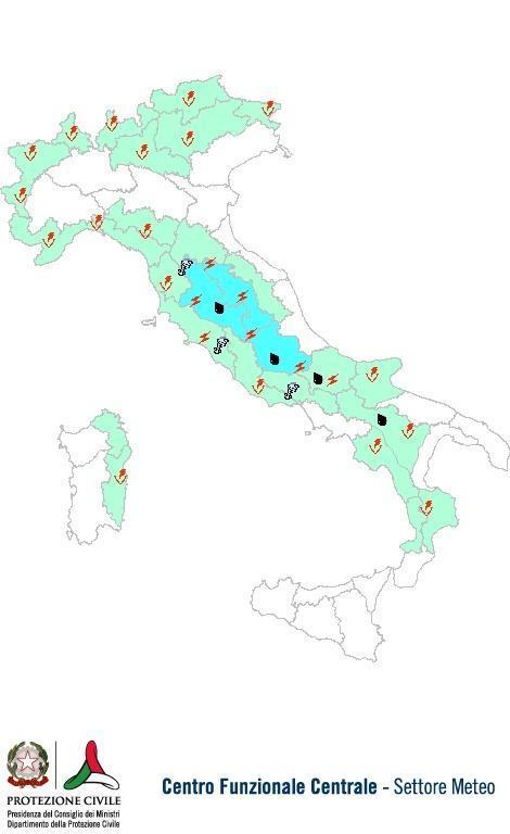 Previsioni meteo 19 Luglio 2013 Italia: Bollettino della Protezione Civile. Fonte: www.protezionecivile.gov.it