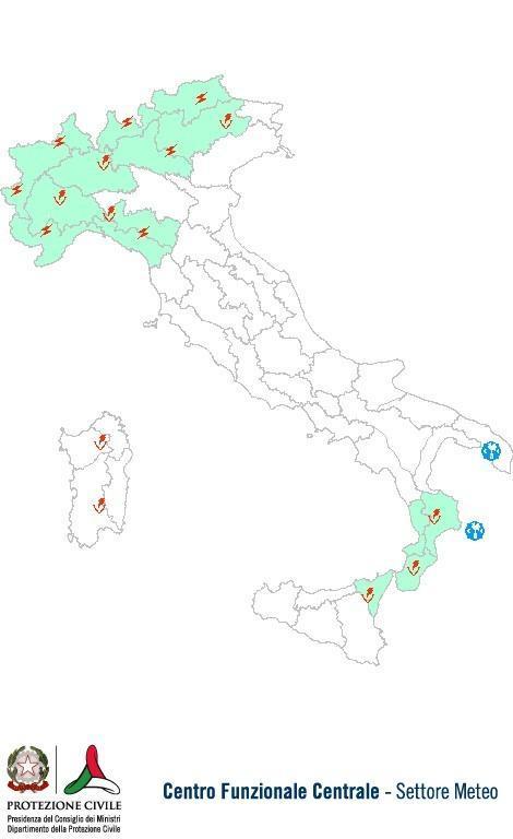 Previsioni meteo 22 Luglio 2013 Italia: Bollettino della Protezione Civile. Fonte: www.protezionecivile.gov.it