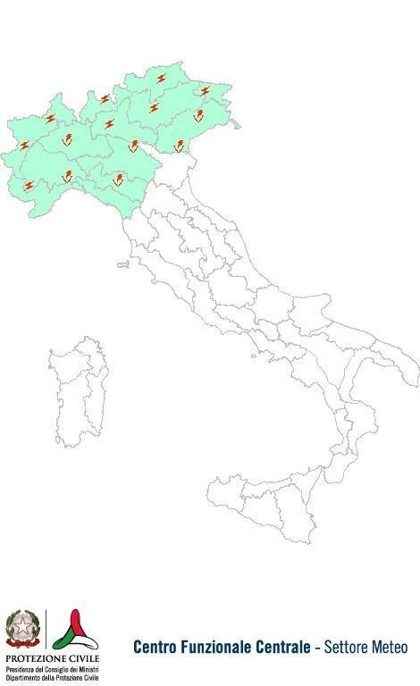 Previsioni meteo 24 Luglio 2013 Italia: Bollettino della Protezione Civile. Fonte: www.protezionecivile.gov.it