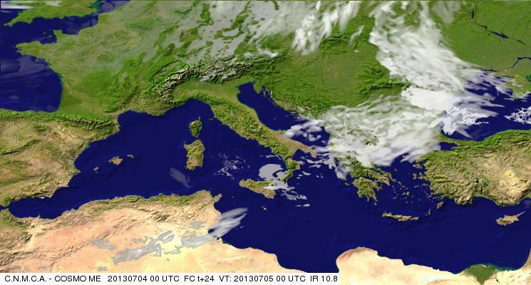 Previsioni Meteo Aeronautica Militare Venerdì 5 Luglio 2013. Fonte: meteoam.itder