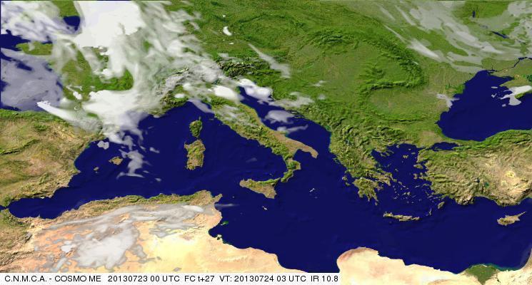 Previsioni Meteo Aeronautica Militare Mercoledì 24 Luglio 2013. Fonte: meteoam.itder