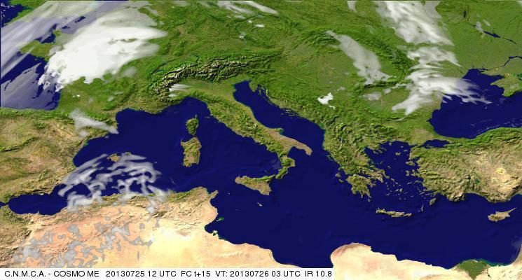 Previsioni Meteo Aeronautica Militare Venerdì 26 Luglio 2013. Fonte: meteoam.itder