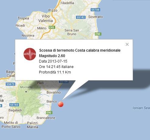 Terremoto Reggio Calabria oggi - 15 Luglio 2013