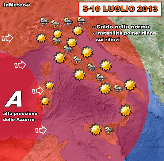 Previsioni Meteo : Arriva l'anticiclone delle Azzorre