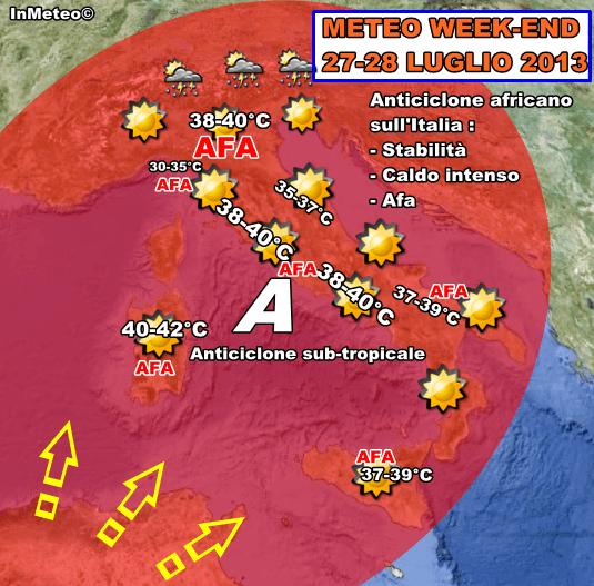 Meteo Week-End : Intensa ondata di caldo. Punte oltre i 40°C