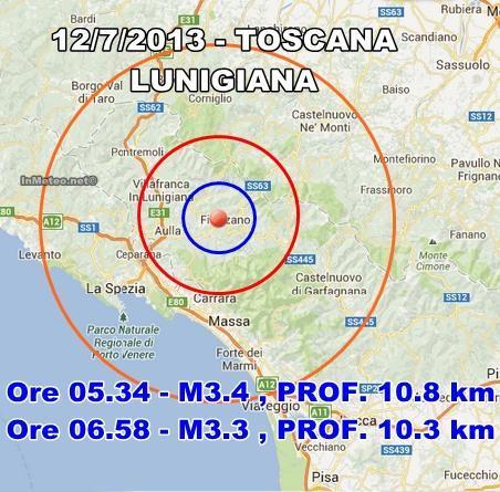 INGV Terremoto Oggi : Torna a tremare la Lunigiana