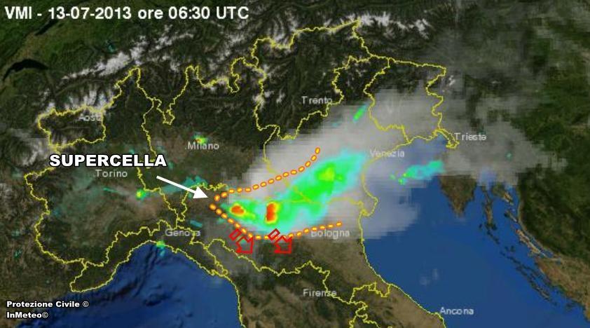 Supercella in azione sull'Emilia Romagna in questi minuti - Protezione Civile