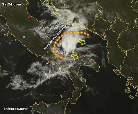 Sistema temporalesco sulla Puglia in queste ore