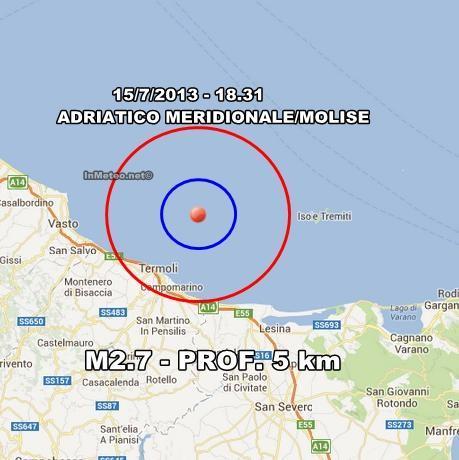 Terremoto Molise Oggi : Lieve scossa avvertita a Termoli