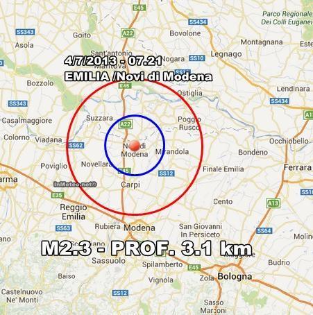 INGV Terremoto Oggi : Lieve scossa avvertita in Emilia