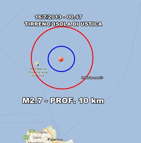 INGV Terremoto Oggi : Lieve scossa a largo di Ustica