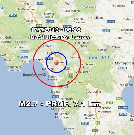 INGV Terremoto Oggi : Scossa avvertita in Basilicata