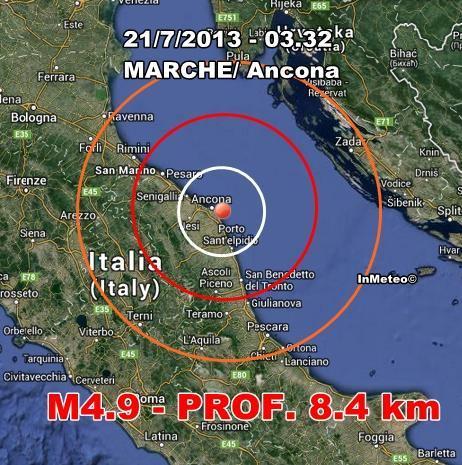 INGV Terremoto Oggi : Forte terremoto a largo di Ancona