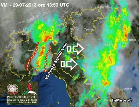 Squall Line sul Piemonte, scatto radar della Protezione Civile