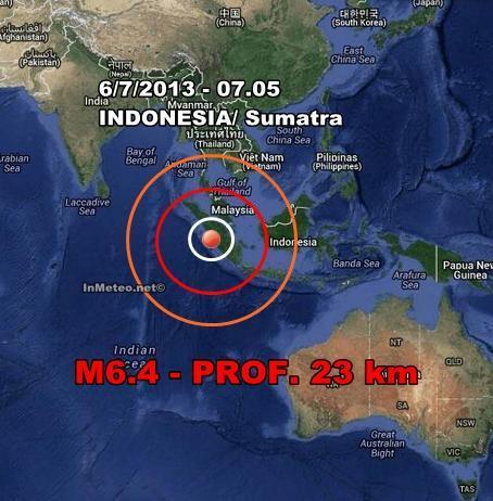 Terremoto Indonesia-Sumatra Oggi 6 Luglio 2013