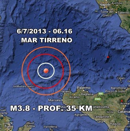 INGV Terremoto Oggi : Moderata scossa di terremoto nel mar Tirreno