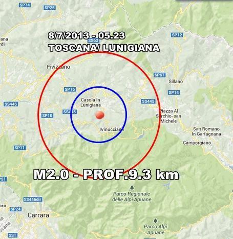 INGV Terremoto Oggi : Lieve scossa in Toscana