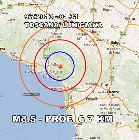INGV Terremoto Oggi : Scossa ben avvertita in Lunigiana