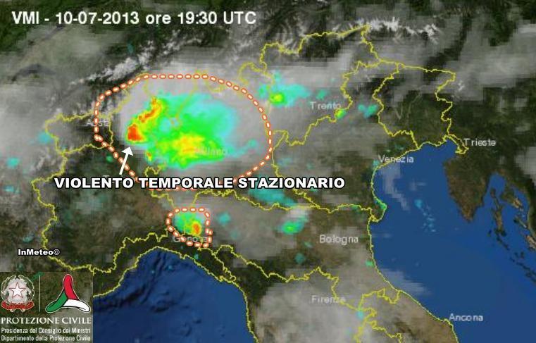 Piemonte - Temporale violento tra verbano e novarese, scatto radar della Protezione Civile