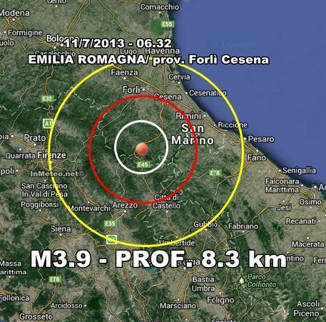 INGV Terremoto Oggi  : Scossa avvertita nettamente in Romagna