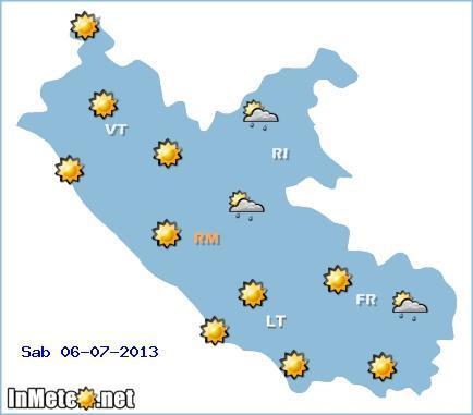 Previsioni grafiche Lazio Sabato 6 Luglio