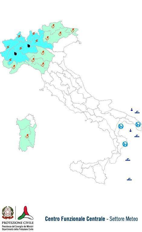 Previsione - Allerta meteo Protezione Civile oggi 17 Luglio 2013