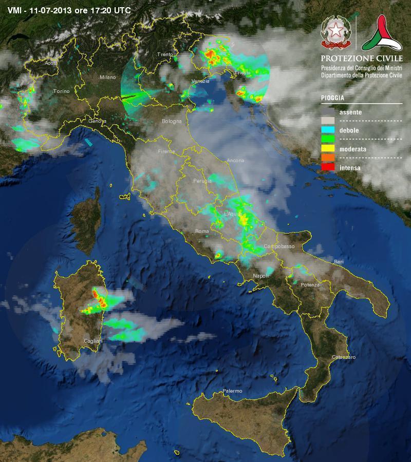 maltempo : Temporali diffusi oggi in italia - Scatto radar della Protezione Civile