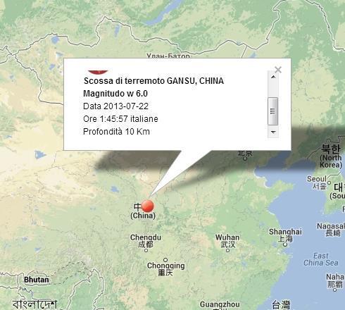 Terremoto Cina oggi 22 Luglio 2013