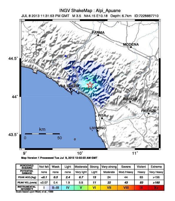 Mappa scuotimento sismico al suolo stanotte - INGV