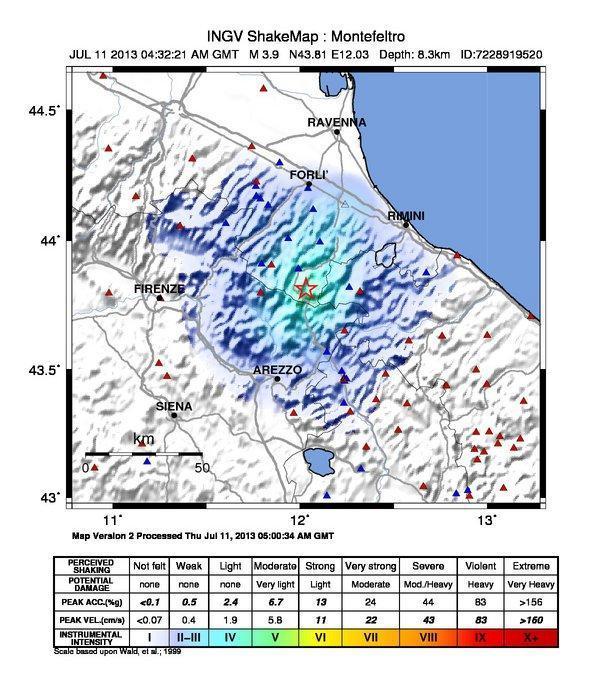 Terremoto Emilia Romagna : Mappa scuotimento sismico, INGV