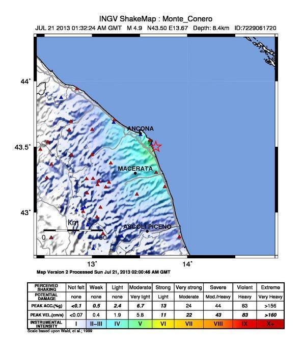 Terremoto Ancona Oggi : Ecco lo scuotimento sofferto al suolo - INGV