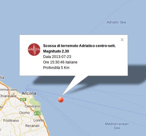 Terremoto Marche-Ancona oggi 23 Luglio 2013