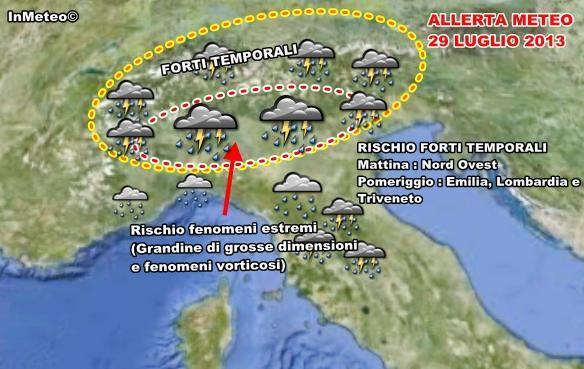Allerta Meteo : Possibili estese supercelle sul Nord Italia nelle zone indicate