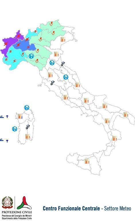 Previsioni meteo 8 Agosto 2013 Italia: Bollettino della Protezione Civile. Fonte: www.protezionecivile.gov.it