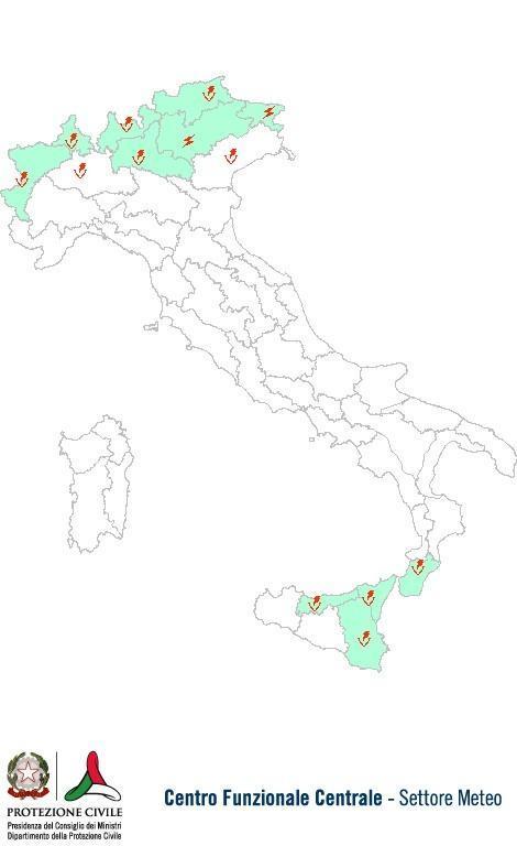Previsioni meteo 13 Agosto 2013 Italia: Bollettino della Protezione Civile. Fonte: www.protezionecivile.gov.it