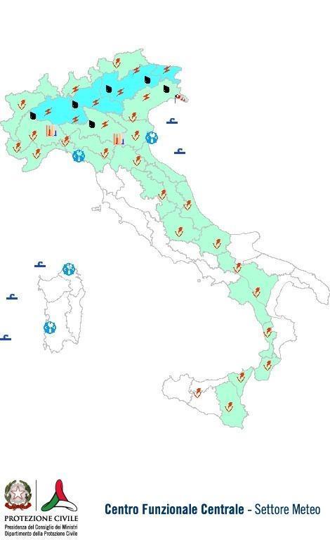 Previsioni meteo 14 Agosto 2013 Italia: Bollettino della Protezione Civile. Fonte: www.protezionecivile.gov.it