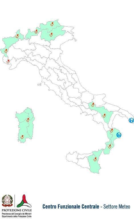 Previsioni meteo 17 Agosto 2013 Italia: Bollettino della Protezione Civile. Fonte: www.protezionecivile.gov.it