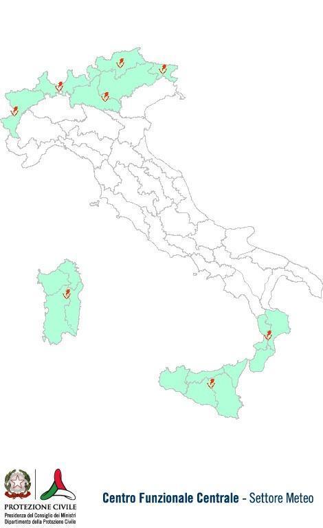 Previsioni meteo 18 Agosto 2013 Italia: Bollettino della Protezione Civile. Fonte: www.protezionecivile.gov.it