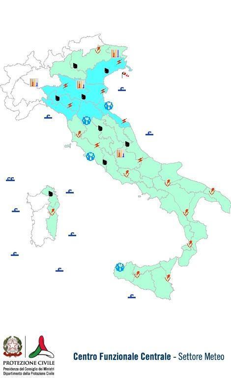 Previsioni meteo 20 Agosto 2013 Italia: Bollettino della Protezione Civile. Fonte: www.protezionecivile.gov.it